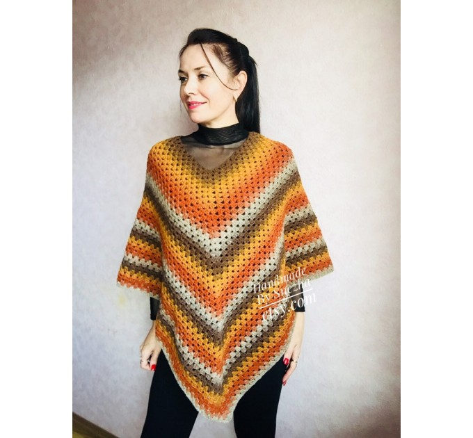 Burnt Orange granny square crochet poncho, PURPLE Wool knit sweater, Lavender Mohair Plus size spring festival Rainbow wrap gift-for-women  Poncho  3