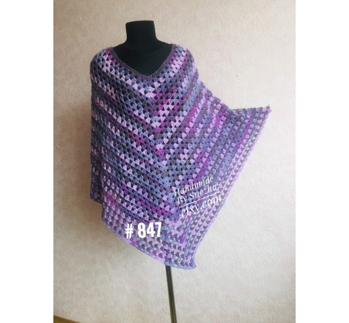 Burnt Orange granny square crochet poncho, PURPLE Wool knit sweater, Lavender Mohair Plus size spring festival Rainbow wrap gift-for-women  Poncho  4