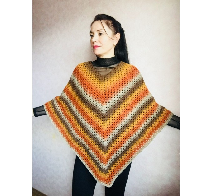 Burnt Orange granny square crochet poncho, PURPLE Wool knit sweater, Lavender Mohair Plus size spring festival Rainbow wrap gift-for-women  Poncho  6