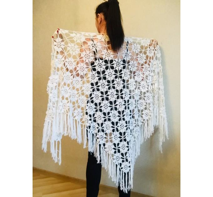 Prayer shawl Bridal shawl pin Bridesmaid Shawl Wedding Cape Wrap Gift-for-women-mom-her-birthday-gift-grandma Easy Lace hand knit shawl Gray  Shawl / Wraps  2