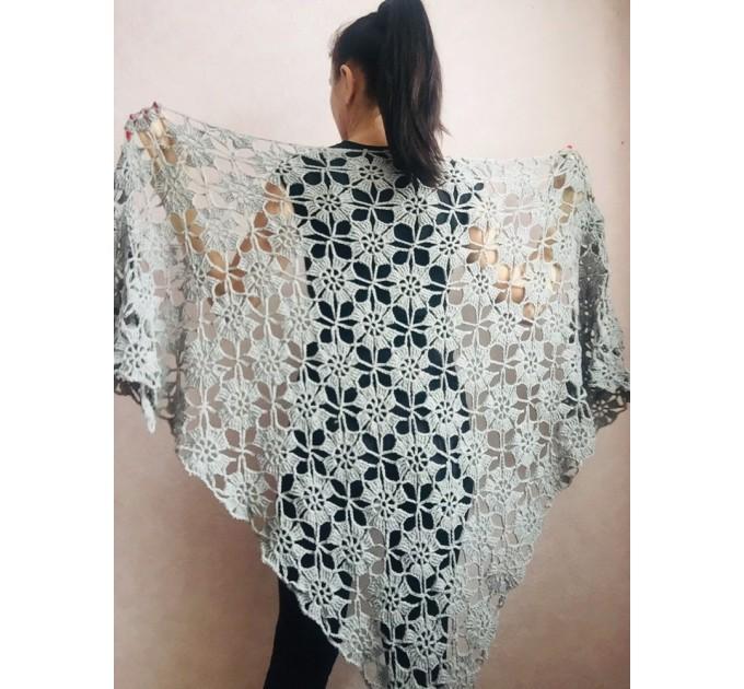 Prayer shawl Bridal shawl pin Bridesmaid Shawl Wedding Cape Wrap Gift-for-women-mom-her-birthday-gift-grandma Easy Lace hand knit shawl Gray  Shawl / Wraps  4