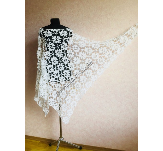 Prayer shawl Bridal shawl pin Bridesmaid Shawl Wedding Cape Wrap Gift-for-women-mom-her-birthday-gift-grandma Easy Lace hand knit shawl Gray  Shawl / Wraps  8