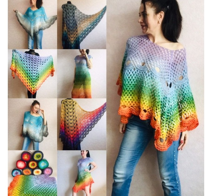 Crochet Poncho Women Rainbow Shawl Big Size Vintage Cotton Boho Maxi Dress Hippie Gift for Her Bohemian Vibrant Colors Boat Neck Poncho  Poncho