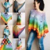 Crochet Poncho Women Rainbow Shawl Big Size Vintage Cotton Boho Maxi Dress Hippie Gift for Her Bohemian Vibrant Colors Boat Neck Poncho