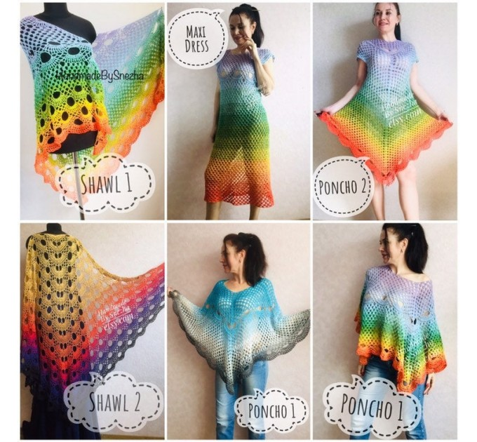 Crochet Poncho Women Rainbow Shawl Big Size Vintage Cotton Boho Maxi Dress Hippie Gift for Her Bohemian Vibrant Colors Boat Neck Poncho  Poncho  2