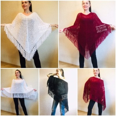 Knit Poncho Women Wool Boho Shawl Squares Crochet Oversized Sweater Winter Cape Coat Travel Poncho Cover Brown Ladies Cloak Autumn Wrap