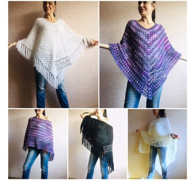Knit Poncho Women Wool Boho Shawl Squares Crochet Oversized Sweater Winter Cape Coat Travel Poncho Cover Brown Ladies Cloak Autumn Wrap  Poncho  2