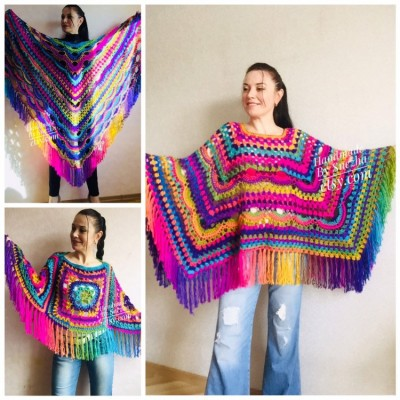 Festival Poncho Pride Women Poncho Fringe, Crochet Triangle Shawl Wraps, Rainbow Plus size poncho, Mom-Birthday-Gift-from-Daughter-For-Her