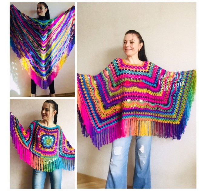 Festival Poncho Pride Women Poncho Fringe, Crochet Triangle Shawl Wraps, Rainbow Plus size poncho, Mom-Birthday-Gift-from-Daughter-For-Her  Poncho