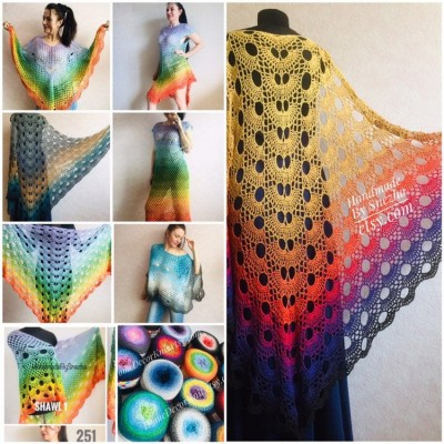 Festival big size vintage shawl pin, Boho kimono Plus size poncho, Swimsuit Beach cover up Rainbow Maxi Dress Crochet Wraps, Gift for mom