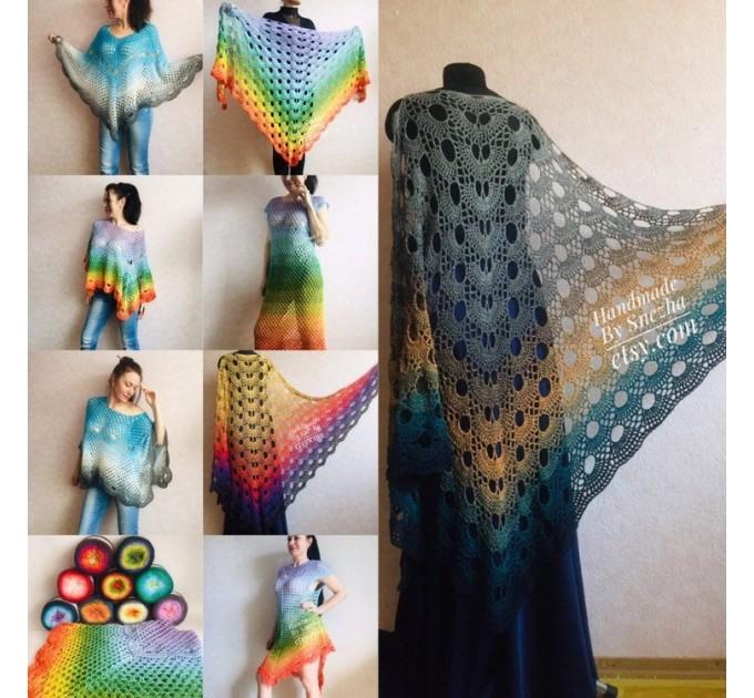 Festival big size vintage shawl pin, Boho kimono Plus size poncho, Swimsuit Beach cover up Rainbow Maxi Dress Crochet Wraps, Gift for mom  Shawl / Wraps  6