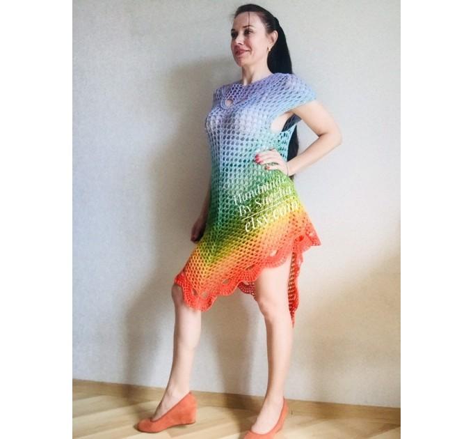 Festival big size vintage shawl pin, Boho kimono Plus size poncho, Swimsuit Beach cover up Rainbow Maxi Dress Crochet Wraps, Gift for mom  Shawl / Wraps  7
