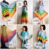 Crochet Poncho Women Plus Size beach swimsuit cover up big Vintage Shawl White Cotton Knit Boho Cape Hippie Gift-for-Her Bohemian Rainbow