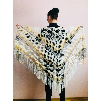 Crochet Shawl Wraps With Fringe Yellow Shawl Best Friend Gift Caregiver Appreciation Gray Acrylic Wool Shawl Easter Shawl Mom Gift, Grandma