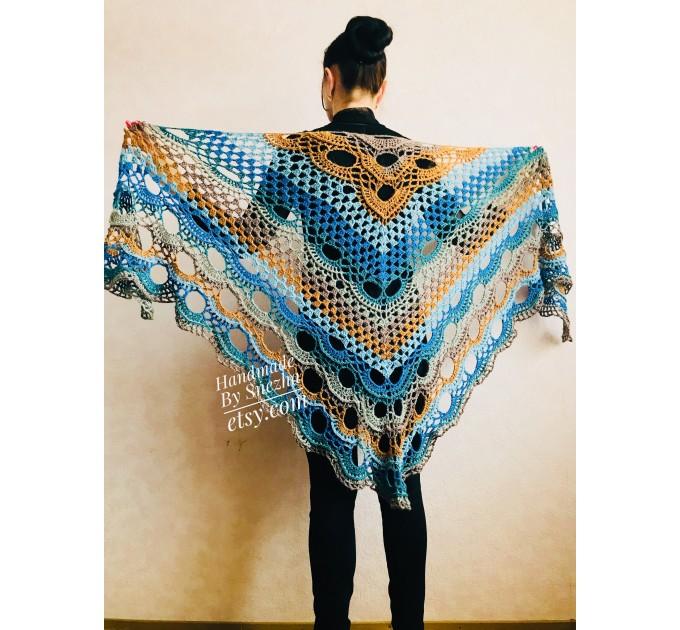 Crochet Shawl Wraps With Fringe Yellow Shawl Best Friend Gift Caregiver Appreciation Gray Acrylic Wool Shawl Easter Shawl Mom Gift, Grandma  Shawl / Wraps  2