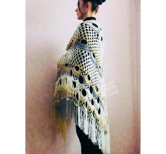 Crochet Shawl Wraps With Fringe Yellow Shawl Best Friend Gift Caregiver Appreciation Gray Acrylic Wool Shawl Easter Shawl Mom Gift, Grandma  Shawl / Wraps  3