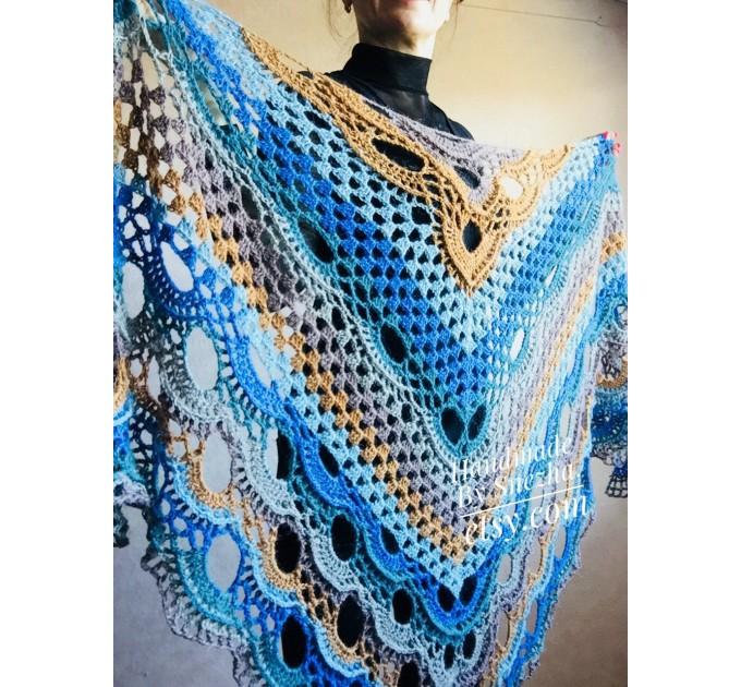 Crochet Shawl Wraps With Fringe Yellow Shawl Best Friend Gift Caregiver Appreciation Gray Acrylic Wool Shawl Easter Shawl Mom Gift, Grandma  Shawl / Wraps  4