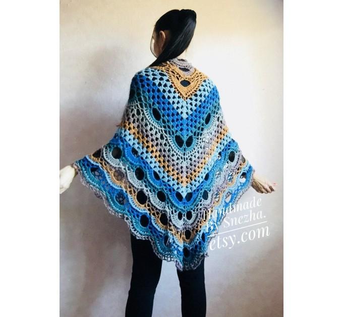 Crochet Shawl Wraps With Fringe Yellow Shawl Best Friend Gift Caregiver Appreciation Gray Acrylic Wool Shawl Easter Shawl Mom Gift, Grandma  Shawl / Wraps  5