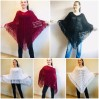 Cape Poncho Women Knitted Sweater Poncho Gift for Pregnant Merino Wool Poncho Fall-Spring Cape Wrap Plus Size Gray Melange White Red Blue