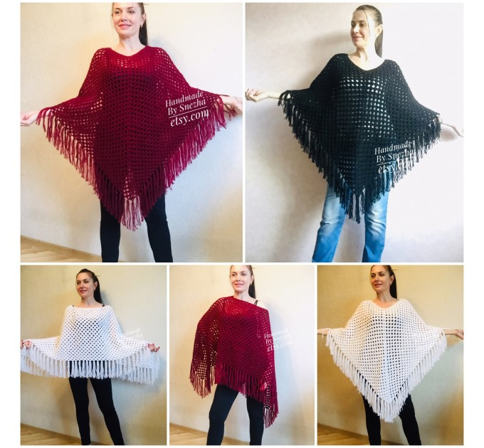 Cape Poncho Women Knitted Sweater Poncho Gift for Pregnant Merino Wool Poncho Fall-Spring Cape Wrap Plus Size Gray Melange White Red Blue  Poncho  1