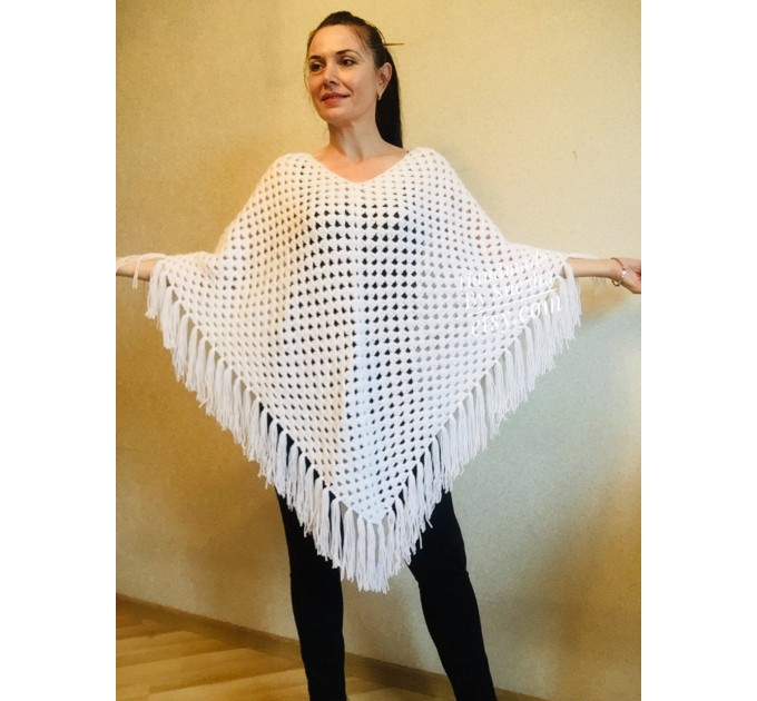 Cape Poncho Women Knitted Sweater Poncho Gift for Pregnant Merino Wool Poncho Fall-Spring Cape Wrap Plus Size Gray Melange White Red Blue  Poncho  3