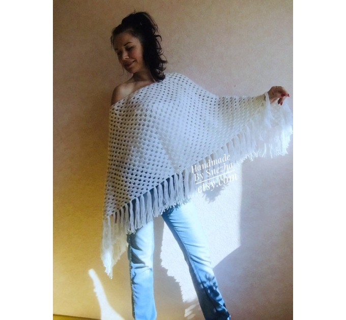 Cape Poncho Women Knitted Sweater Poncho Gift for Pregnant Merino Wool Poncho Fall-Spring Cape Wrap Plus Size Gray Melange White Red Blue  Poncho  5