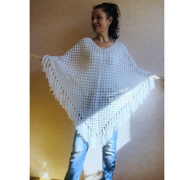Cape Poncho Women Knitted Sweater Poncho Gift for Pregnant Merino Wool Poncho Fall-Spring Cape Wrap Plus Size Gray Melange White Red Blue  Poncho  6