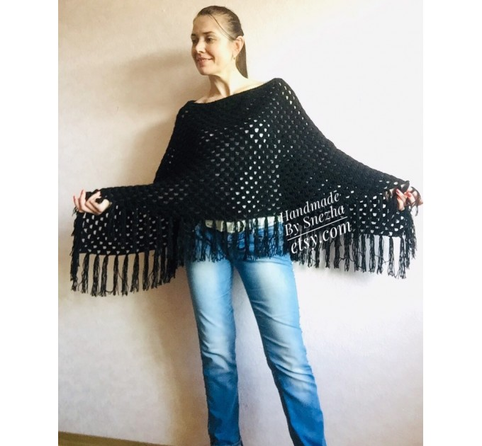 Cape Poncho Women Knitted Sweater Poncho Gift for Pregnant Merino Wool Poncho Fall-Spring Cape Wrap Plus Size Gray Melange White Red Blue  Poncho  7