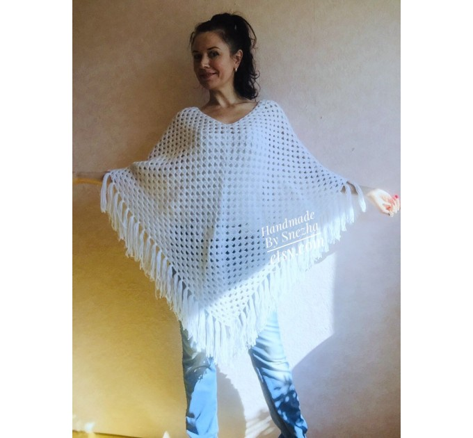 Cape Poncho Women Knitted Sweater Poncho Gift for Pregnant Merino Wool Poncho Fall-Spring Cape Wrap Plus Size Gray Melange White Red Blue  Poncho  9