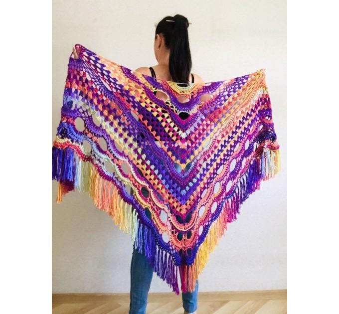 Burnt Orange Crochet Shawl Wrap Fringe Violet Triangle Boho Shawl Colorful Rainbow Shawl Big Multicolor Hand Knitted Shawl Evening Shawl  Shawl / Wraps