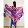 Burnt Orange Crochet Shawl Wrap Fringe Violet Triangle Boho Shawl Colorful Rainbow Shawl Big Multicolor Hand Knitted Shawl Evening Shawl