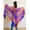 Burnt Orange Crochet Shawl Wrap Fringe Violet Triangle Boho Shawl Colorful Rainbow Shawl Big Multicolor Hand Knitted Shawl Evening Shawl