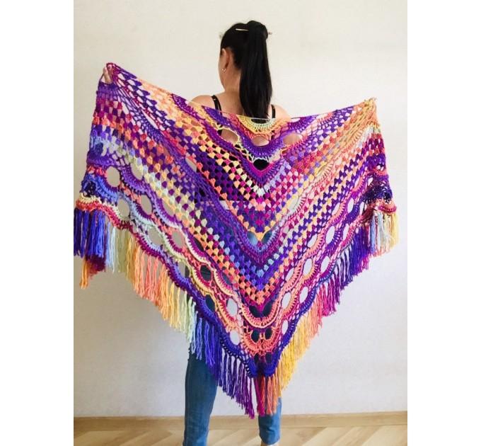 Burnt Orange Crochet Shawl Wrap Fringe Violet Triangle Boho Shawl Colorful Rainbow Shawl Big Multicolor Hand Knitted Shawl Evening Shawl  Shawl / Wraps  3