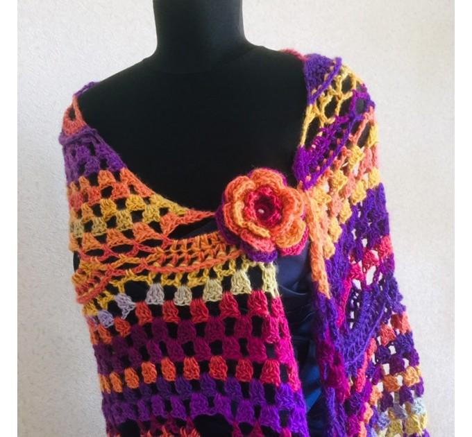 Burnt Orange Crochet Shawl Wrap Fringe Violet Triangle Boho Shawl Colorful Rainbow Shawl Big Multicolor Hand Knitted Shawl Evening Shawl  Shawl / Wraps  2