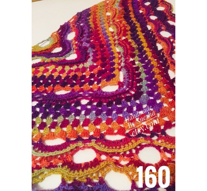 Burnt Orange Crochet Shawl Wrap Fringe Violet Triangle Boho Shawl Colorful Rainbow Shawl Big Multicolor Hand Knitted Shawl Evening Shawl  Shawl / Wraps  1