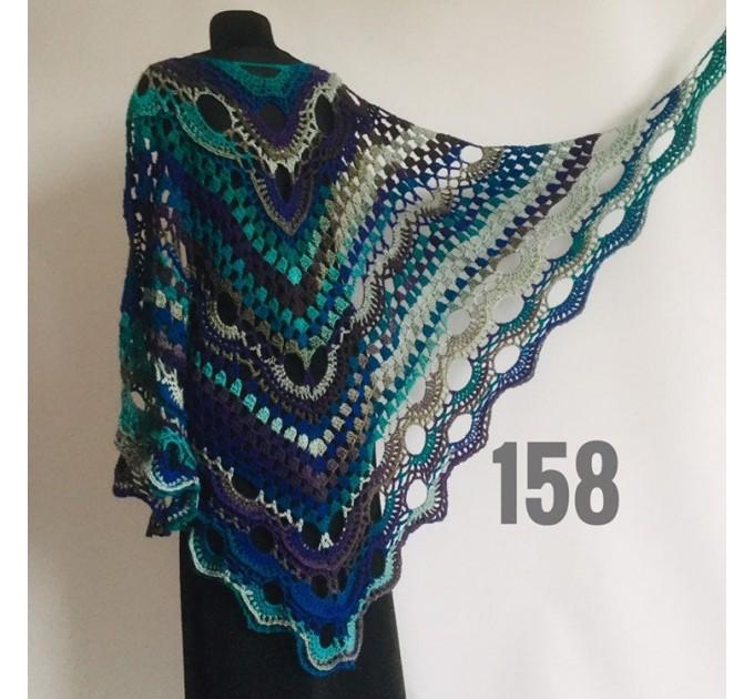 Burnt Orange Crochet Shawl Wrap Fringe Violet Triangle Boho Shawl Colorful Rainbow Shawl Big Multicolor Hand Knitted Shawl Evening Shawl  Shawl / Wraps  5