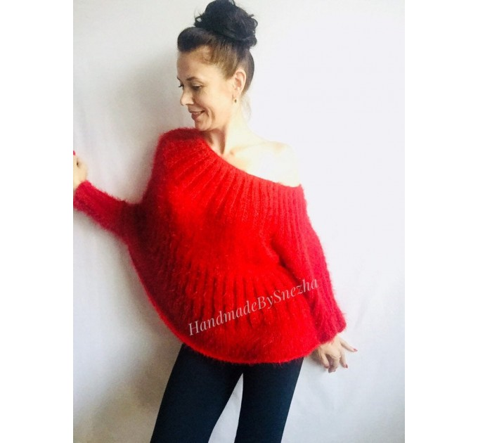 Red Fuzzy pullover Black Mohair Sweater Poncho Women Plus Size off shoulder sexy white poncho Oversized navy blue hand knit Sweater Chunky  Sweater  2