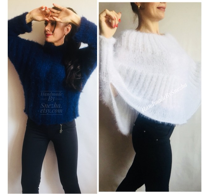 Red Fuzzy pullover Black Mohair Sweater Poncho Women Plus Size off shoulder sexy white poncho Oversized navy blue hand knit Sweater Chunky  Sweater  7