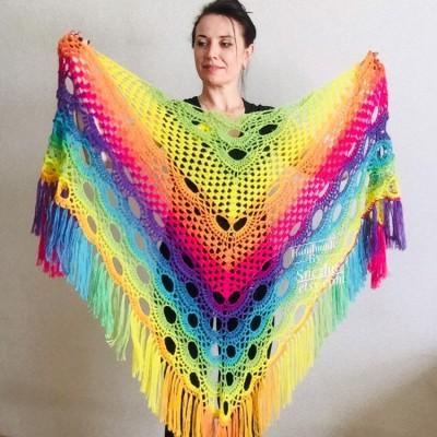Crochet Shawl Rainbow Wraps Fringe GIFT brooch Mohair Triangular Scarf Colorful Knit Wool Multicolor pashmina Shawl Lace Warm Boho Evening