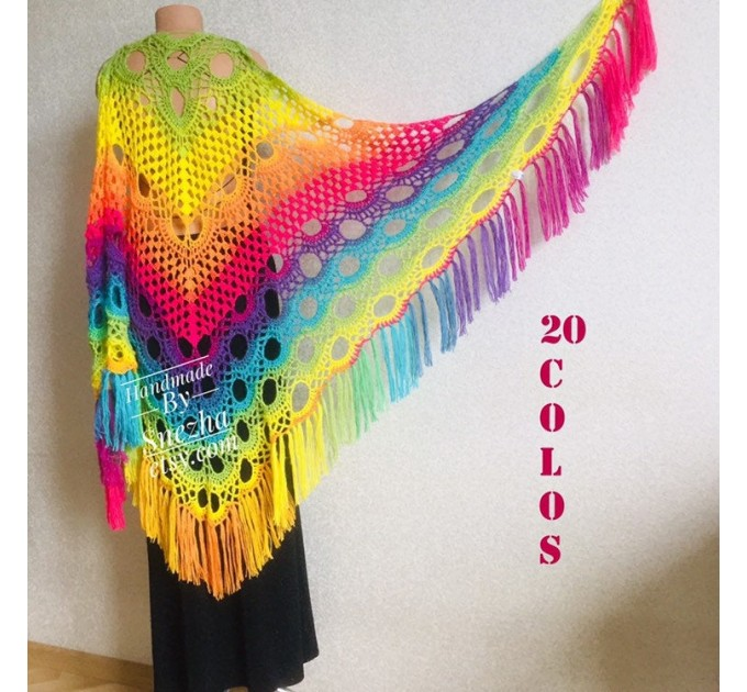 Crochet Shawl Rainbow Wraps Fringe GIFT brooch Mohair Triangular Scarf Colorful Knit Wool Multicolor pashmina Shawl Lace Warm Boho Evening  Shawl / Wraps  2