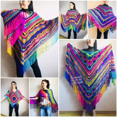 Crochet Shawl Poncho Fringe, Rainbow Oversized Festival Hippi Plus Size Clothing ,Women Hand Knitted Triangular Multicolor Wraps Boho Wool