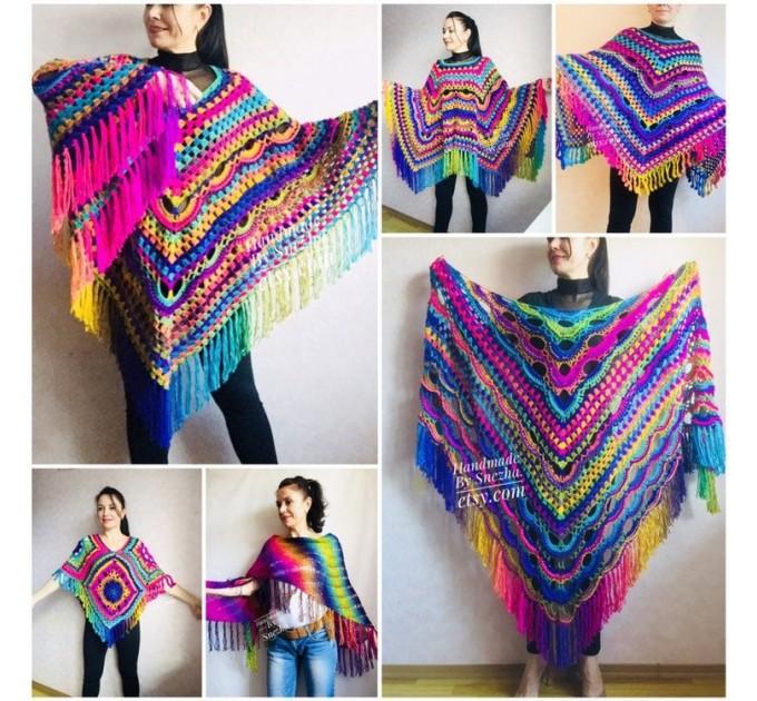 Crochet Shawl Poncho Fringe, Rainbow Oversized Festival Hippi Plus Size Clothing ,Women Hand Knitted Triangular Multicolor Wraps Boho Wool  Poncho