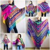 Crochet Shawl Poncho Fringe, Rainbow Oversized Festival Hippi Plus Size Clothing ,Women Hand Knitted Triangular Multicolor Wraps Boho Wool