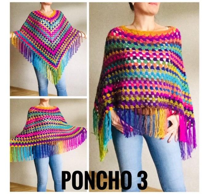 Crochet Shawl Poncho Fringe, Rainbow Oversized Festival Hippi Plus Size Clothing ,Women Hand Knitted Triangular Multicolor Wraps Boho Wool  Poncho  2
