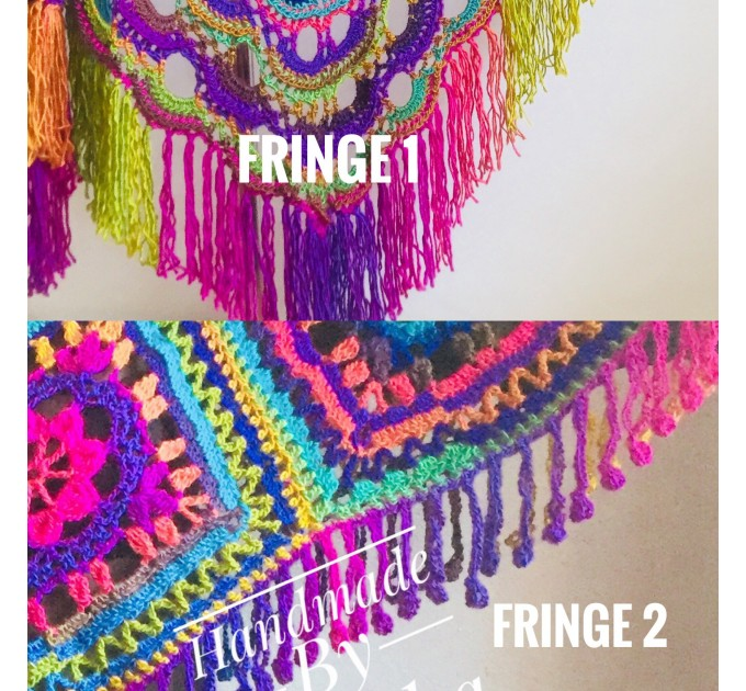 Crochet Shawl Poncho Fringe, Rainbow Oversized Festival Hippi Plus Size Clothing ,Women Hand Knitted Triangular Multicolor Wraps Boho Wool  Poncho  3