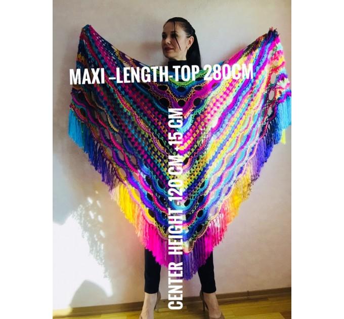 Crochet Shawl Poncho Fringe, Rainbow Oversized Festival Hippi Plus Size Clothing ,Women Hand Knitted Triangular Multicolor Wraps Boho Wool  Poncho  4