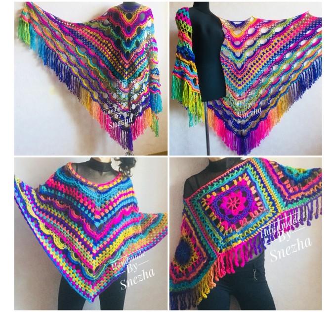 Crochet Shawl Poncho Fringe, Rainbow Oversized Festival Hippi Plus Size Clothing ,Women Hand Knitted Triangular Multicolor Wraps Boho Wool  Poncho  5