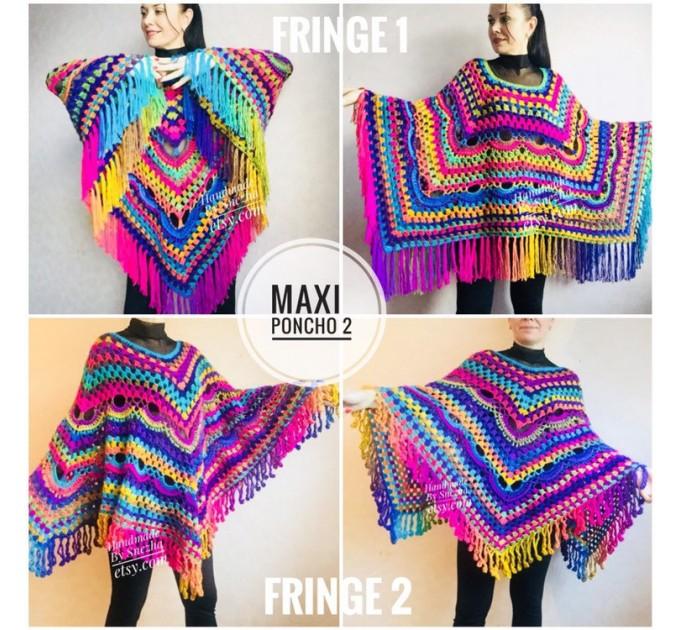 Crochet Shawl Poncho Fringe, Rainbow Oversized Festival Hippi Plus Size Clothing ,Women Hand Knitted Triangular Multicolor Wraps Boho Wool  Poncho  6