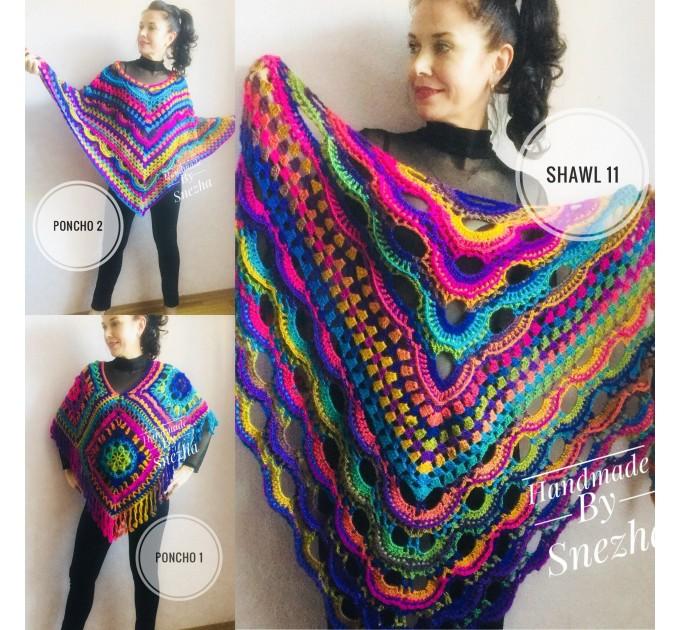 Crochet Shawl Poncho Fringe, Rainbow Oversized Festival Hippi Plus Size Clothing ,Women Hand Knitted Triangular Multicolor Wraps Boho Wool  Poncho  7