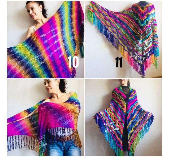 Crochet Shawl Poncho Fringe, Rainbow Oversized Festival Hippi Plus Size Clothing ,Women Hand Knitted Triangular Multicolor Wraps Boho Wool  Poncho  8